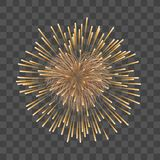 Beautiful heart-firework. Gold romantic firework, isolated transparent background. Light love decoration salute for. Valentine Day celebration. Symbol of Royalty Free Stock Photography