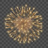 Beautiful heart-firework. Gold romantic firework, isolated transparent background. Light love decoration salute for. Valentine Day celebration. Symbol of royalty free illustration