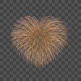 Beautiful heart-firework. Gold romantic firework  transparent background. Light love decoration salute for. Valentine Day celebration. Symbol of holiday Stock Images
