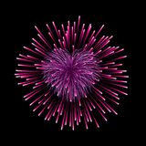 Beautiful heart-firework. Pink romantic firework, isolated on black background. Light love decoration salute for. Valentine Day celebration. Symbol of holiday Stock Photo