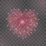 Beautiful heart-firework. Red romantic firework, isolated transparent background. Light love decoration salute for. Valentine Day celebration. Symbol of holiday Stock Images