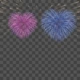 Beautiful heart-fireworks background card. Bright romantic couple fireworks. Isolated black background. Light love. Beautiful heart-fireworks background card Royalty Free Stock Photos