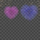 Beautiful heart-fireworks background card. Bright romantic couple fireworks. Isolated black background. Light love. Beautiful heart-fireworks background card Royalty Free Stock Photography