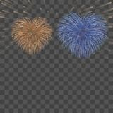 Beautiful heart-fireworks background card. Bright romantic couple fireworks. Isolated black background. Light love. Beautiful heart-fireworks background card Stock Images