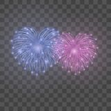Beautiful heart-fireworks set. Bright romantic couple firework isolated transparent background. Love decoration salute. For Valentine Day celebration. Symbol Stock Photos