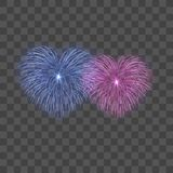 Beautiful heart-fireworks set. Bright romantic couple firework isolated transparent background. Love decoration salute. For Valentine Day celebration. Symbol Royalty Free Stock Photos