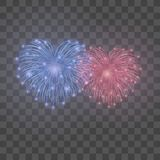 Beautiful heart-fireworks set. Bright romantic couple firework  transparent background. Love decoration salute. For Valentine Day celebration. Symbol holiday Royalty Free Stock Photo