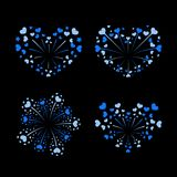 Beautiful heart-fireworks set. Bright romantic salute isolated on black background. Love decoration flat firework. Symbol of Valentine Day celebration, holiday Royalty Free Stock Image