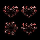 Beautiful heart-fireworks set. Bright romantic salute isolated on black background. Love decoration flat firework. Symbol of Valentine Day celebration, holiday Stock Photography