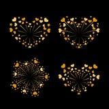 Beautiful heart-fireworks set. Gold romantic salute  on black background. Love decoration flat firework. Symbol. Of Valentine Day celebration, holiday, wedding Stock Photography