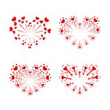 Beautiful heart-fireworks set. Red romantic salute isolated on white background. Love decoration flat firework. Symbol. Of Valentine Day celebration, holiday Royalty Free Stock Photography