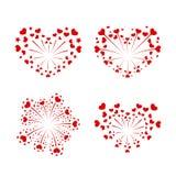Beautiful heart-fireworks set. Red romantic salute isolated on white background. Love decoration flat firework. Symbol. Of Valentine Day celebration, holiday Stock Photo