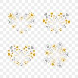 Beautiful heart-fireworks set. Romantic salute isolated on transparent background. Love decoration flat firework. Symbol. Of Valentine Day celebration, holiday Royalty Free Stock Photos