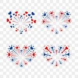 Beautiful heart-fireworks set. Romantic salute isolated on transparent background. Love decoration flat firework. Symbol. Of Valentine Day celebration, holiday Royalty Free Stock Image