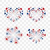 Beautiful heart-fireworks set. Romantic salute isolated on transparent background. Love decoration flat firework. Symbol. Of Valentine Day celebration, holiday Stock Photos