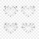 Beautiful heart-fireworks set. Romantic salute isolated on transparent background. Love decoration flat firework. Symbol. Of Valentine Day celebration, holiday Stock Photos