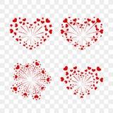 Beautiful heart-fireworks set. Romantic salute isolated on transparent background. Love decoration flat firework. Symbol. Of Valentine Day celebration, holiday Royalty Free Stock Photography