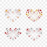Beautiful heart-fireworks set. Romantic salute isolated on transparent background. Love decoration flat firework. Symbol. Of Valentine Day celebration, holiday Stock Image