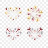 Beautiful heart-fireworks set. Romantic salute isolated on transparent background. Love decoration flat firework. Symbol. Of Valentine Day celebration, holiday Stock Photo