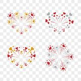Beautiful heart-fireworks set. Romantic salute isolated on transparent background. Love decoration flat firework. Symbol. Of Valentine Day celebration, holiday Stock Photography