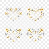 Beautiful heart-fireworks set. Romantic salute isolated on transparent background. Love decoration flat firework. Symbol. Of Valentine Day celebration, holiday Stock Images