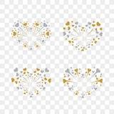 Beautiful heart-fireworks set. Romantic salute  on transparent background. Love decoration flat firework. Symbol. Of Valentine Day celebration, holiday, wedding Royalty Free Stock Photo