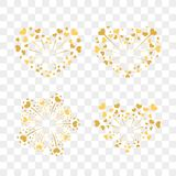 Beautiful heart-fireworks set. Romantic salute  on transparent background. Love decoration flat firework. Symbol. Of Valentine Day celebration, holiday, wedding Royalty Free Stock Photo