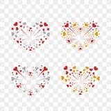 Beautiful heart-fireworks set. Romantic salute  on transparent background. Love decoration flat firework. Symbol. Of Valentine Day celebration, holiday, wedding Royalty Free Stock Image