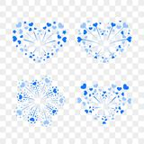 Beautiful heart-fireworks set. Romantic salute  on transparent background. Love decoration flat firework. Symbol. Of Valentine Day celebration, holiday, wedding Royalty Free Stock Image