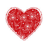 Beautiful heart with floral design Royalty Free Stock Photo