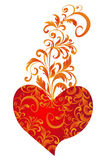 Beautiful heart with floral ornament stock illustration