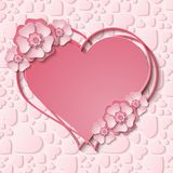 Beautiful  heart frame with 3d light pink paper cut out flowers. Beautiful tender heart frame with 3d light pink paper cut out flowers. Vector illustration Royalty Free Stock Photography