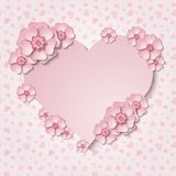 Beautiful  heart frame with 3d light pink paper cut out flowers. Beautiful tender heart frame with 3d light pink paper cut out flowers. Vector illustration Royalty Free Stock Image