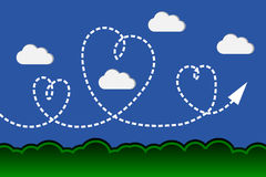 Beautiful heart in garden and cloud blue sky Royalty Free Stock Photos