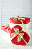 Beautiful heart gift boxes Royalty Free Stock Photos