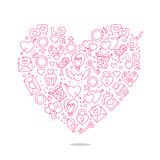 Beautiful heart of icons for Valentine's Day. Excellent gift card. Vector illustration on white background Vector Illustration