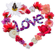 Beautiful heart with legend made of different flowers. As a symbol of love on white background. Heart consists of chamomile, rose, dahlia, petunia, orchid that Stock Images