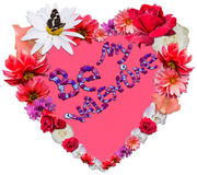Beautiful heart with legend made of different flowers on white b. Beautiful heart with legend Be My Valentine made of different flowers as a symbol of love on Stock Image