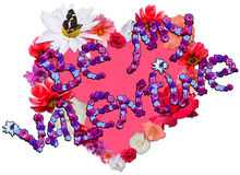 Beautiful heart with legend made of different flowers on white b. Beautiful heart with legend Be My Valentine made of different flowers as a symbol of love on Royalty Free Stock Image