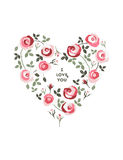 Beautiful heart made of roses. Royalty Free Stock Photography