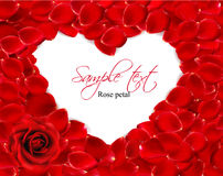Beautiful heart of red rose petals. Royalty Free Stock Photo