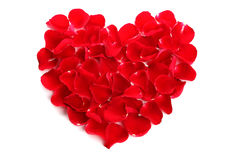Beautiful heart of red rose petals Stock Photos