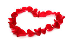 Beautiful heart of red rose petals Stock Photo
