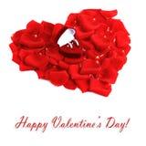 Beautiful heart of red rose petals Royalty Free Stock Photos