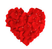 Beautiful heart of red rose petals isolated Royalty Free Stock Photography
