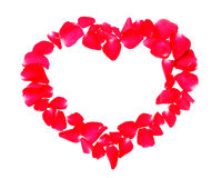 Beautiful heart of red rose petals isolated on white background Stock Photo