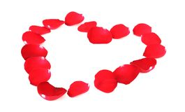 Beautiful heart of red rose petals Royalty Free Stock Images