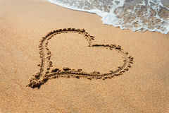 Beautiful heart shape in the beach sands Royalty Free Stock Photo