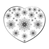 Beautiful heart shape with black flower for pattern Stock Photo