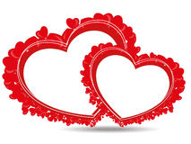Beautiful heart shape made with small hearts. With copy space on white background for Valentine Day Stock Illustration